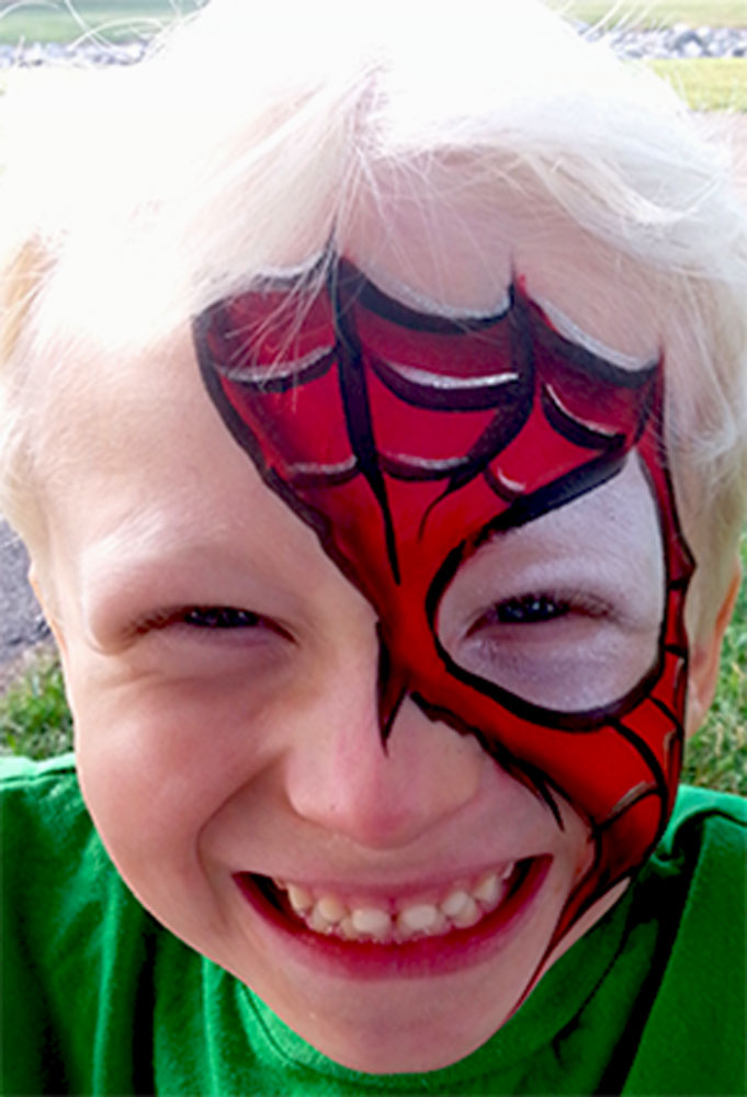 Spiderman In the Park - Face Painting Cincinnati-Rainbow Faces